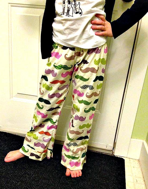 moustache pyjama pants pattern from my cotton creations